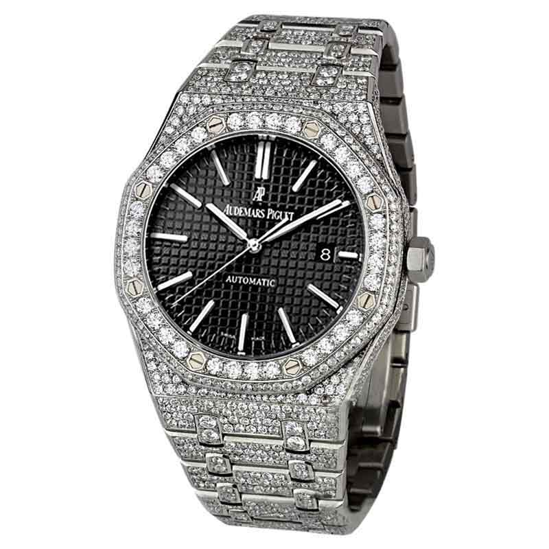 "Image of ""Audemars Piguet Royal Oak Stainless Steel and Diamond Automatic Black"""