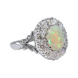 18k White Gold Australian Opal 1.69Ct Diamond Cluster Engagement Ring