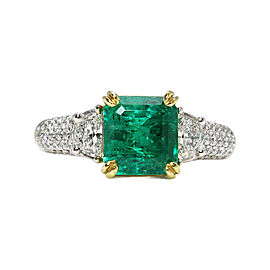 18k White Gold 3.01Ct Colombian Green Emerald Diamond Engagement Ring