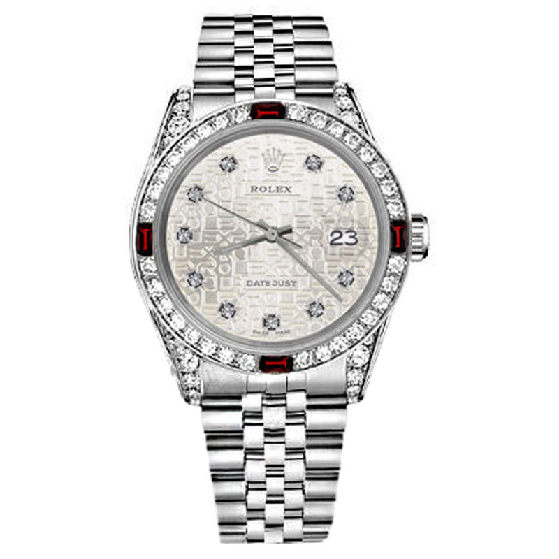 "Image of ""Rolex Datejust Silver Jubilee Metal Plate Dial Ruby & Diamond Unisex"""