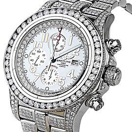 Breitling Super Avenger A13370 White Index Dial & Diamond Men's Watch