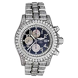 Breitling Super Avenger A13370 Blue Index Dial Diamond Men's Watch