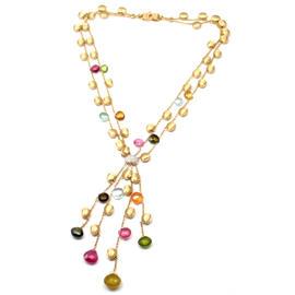 Marco Bicego Paradise 18K Yellow Gold Multicolor Gemstone Diamond Necklace