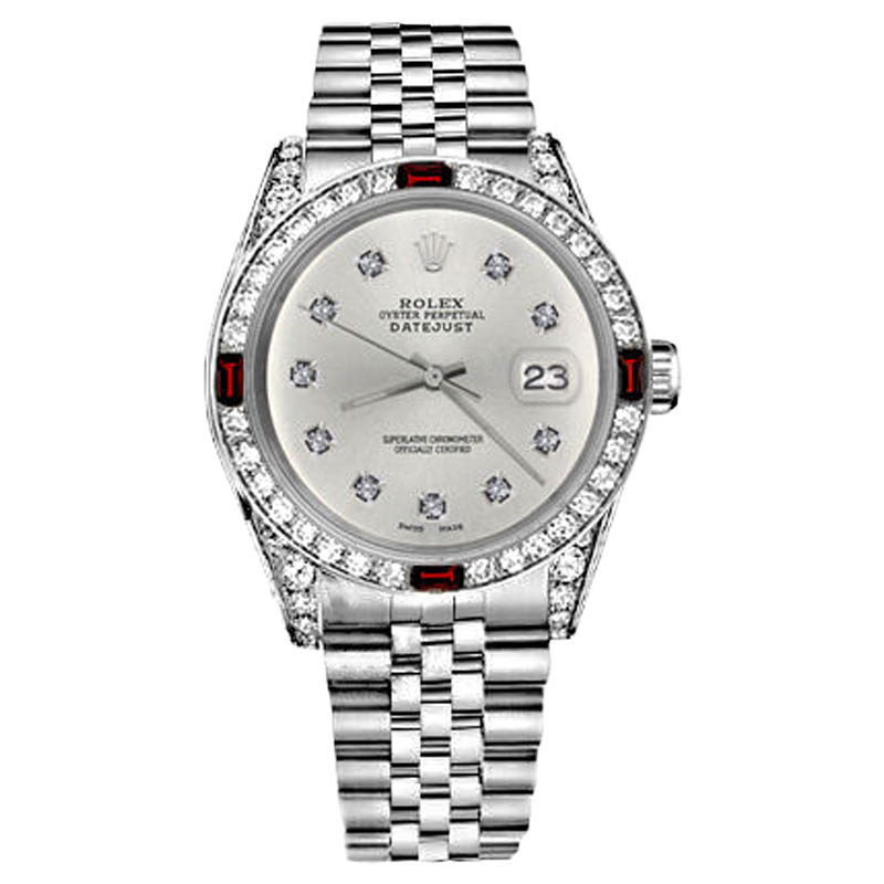 "Image of ""Rolex Datejust Silver Color Dial with Ruby &10 Round Diamond Bezel"""