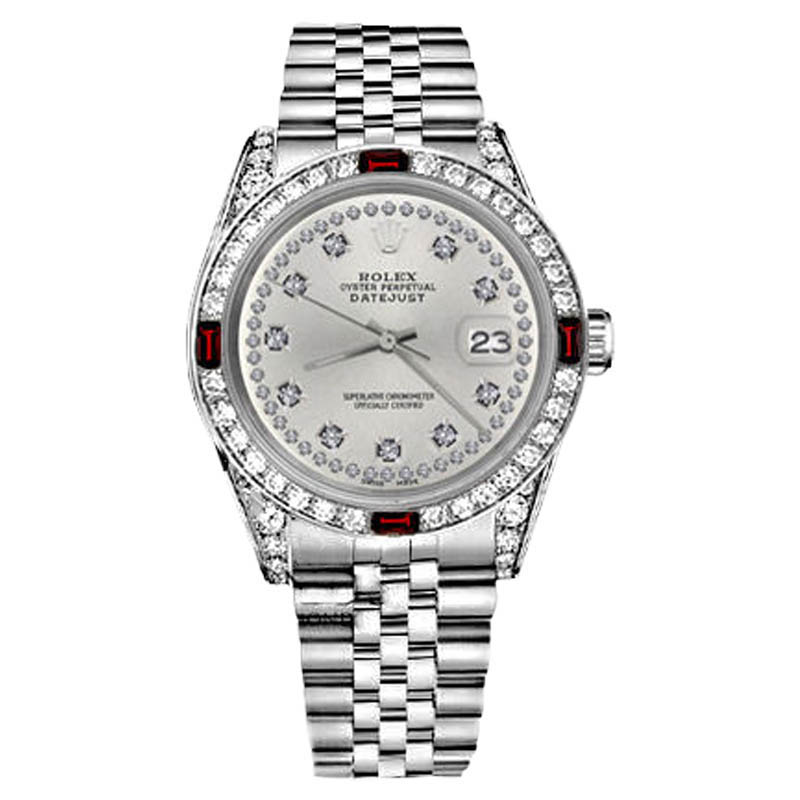 "Image of ""Rolex Datejust Stainless Steel Ruby & Diamonds Silver Color String"""