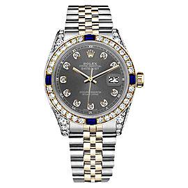 Rolex Datejust 2Tone Dark Grey Color Dial Sapphire & Diamond Accent Womens 31mm Watch