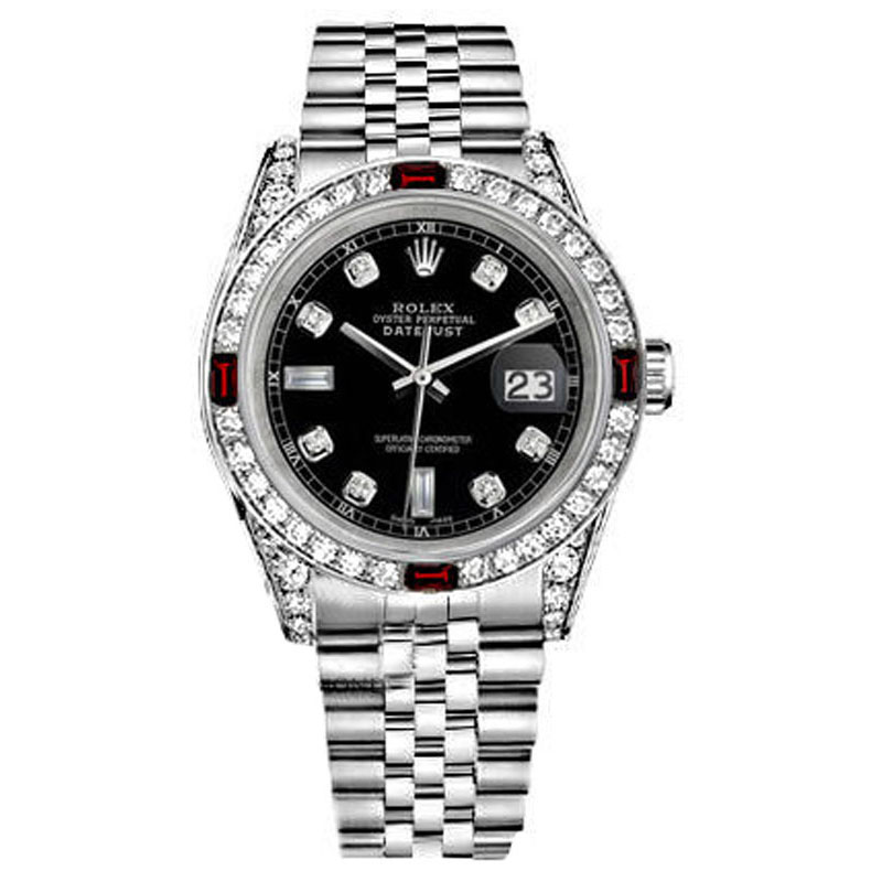 "Image of ""Rolex Datejust Steel Black Dial Ruby & Diamond Womens 31mm Watch"""