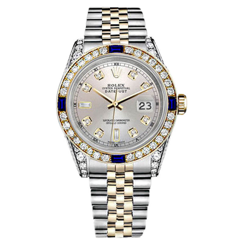 "Image of ""Rolex Datejust Stainless Steel & Gold Silver Dial Sapphire & Diamond"""