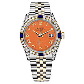 Rolex Datejust 2 Tone Orange Roman Numeral Dial Sapphire & Diamond 36mm Watch