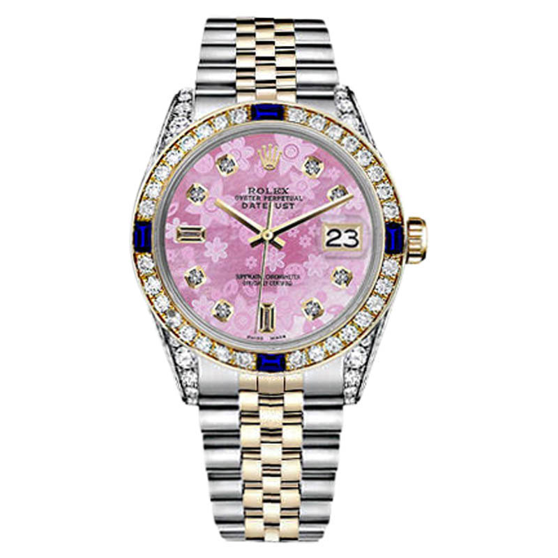 """Image of """"Rolex Datejust 18K Yellow Gold Stainless Steel Sapphire Pink Flower"""""""