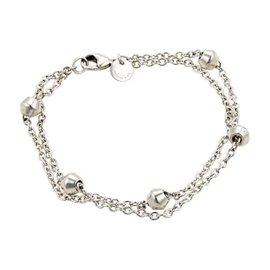 Tiffany & Co. Sterling Silver Fancy Bead Double Chain Bracelet