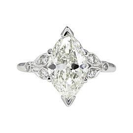 Platinum 2.25ct Marquise Diamond Engagement Ring Sz 6.5