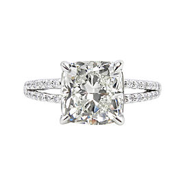 Platinum Cushion 3.7Ct Diamond Engagement Ring