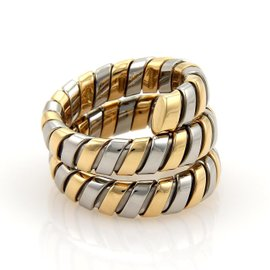 Bulgari Tubogas 18K Yellow Gold & Stainless Steel Wide Wrap Band Ring Size Medium