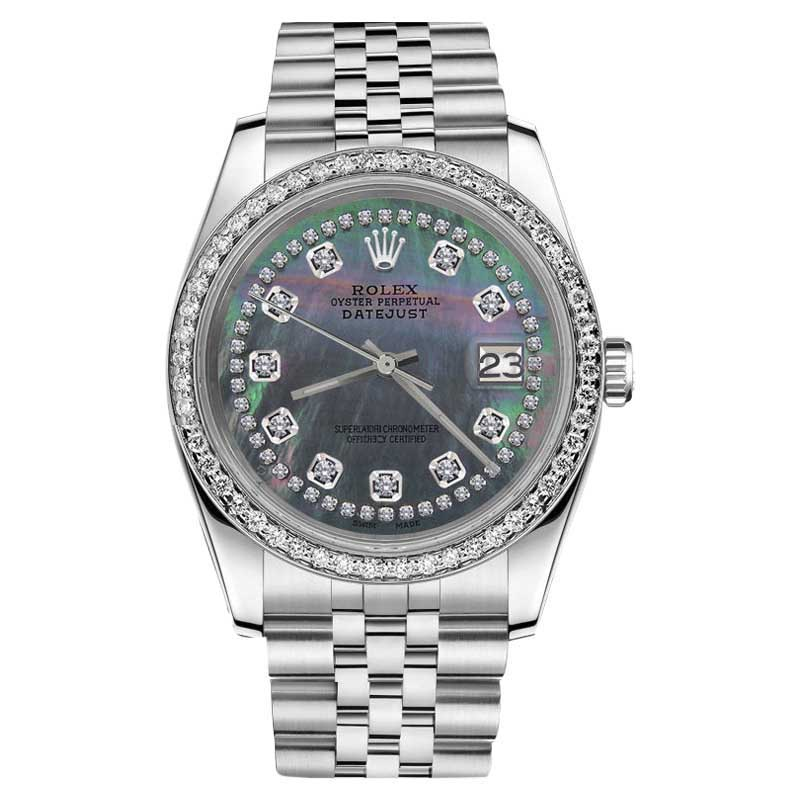"Image of ""Rolex Datejust Black Mother of Pearl String Diamond 26mm Stainles"""