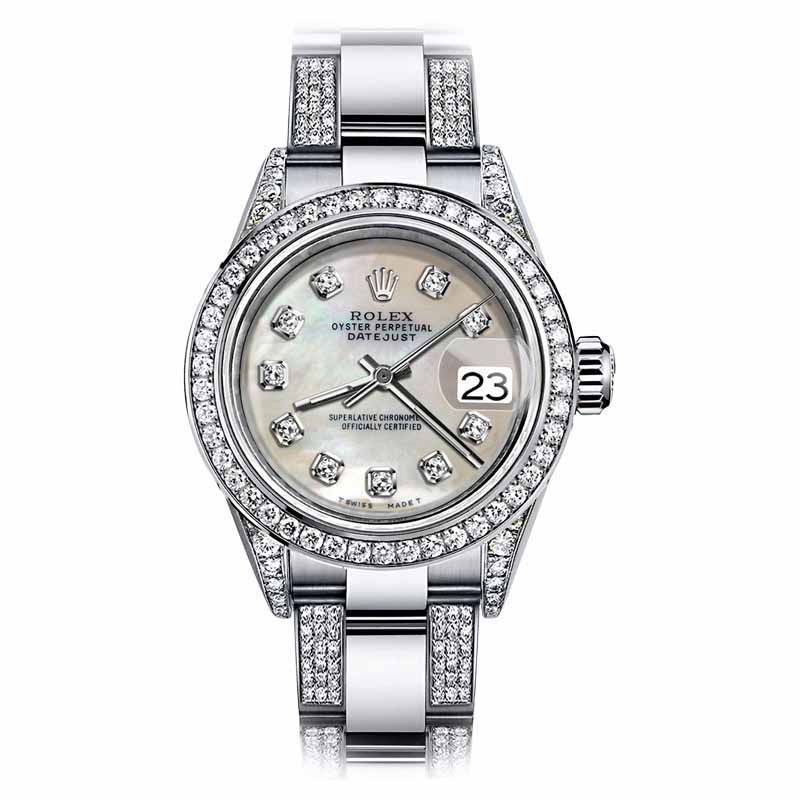 "Image of ""Rolex Oyster Perpetual Datejust Stainless Steel White Tone Diamond"""