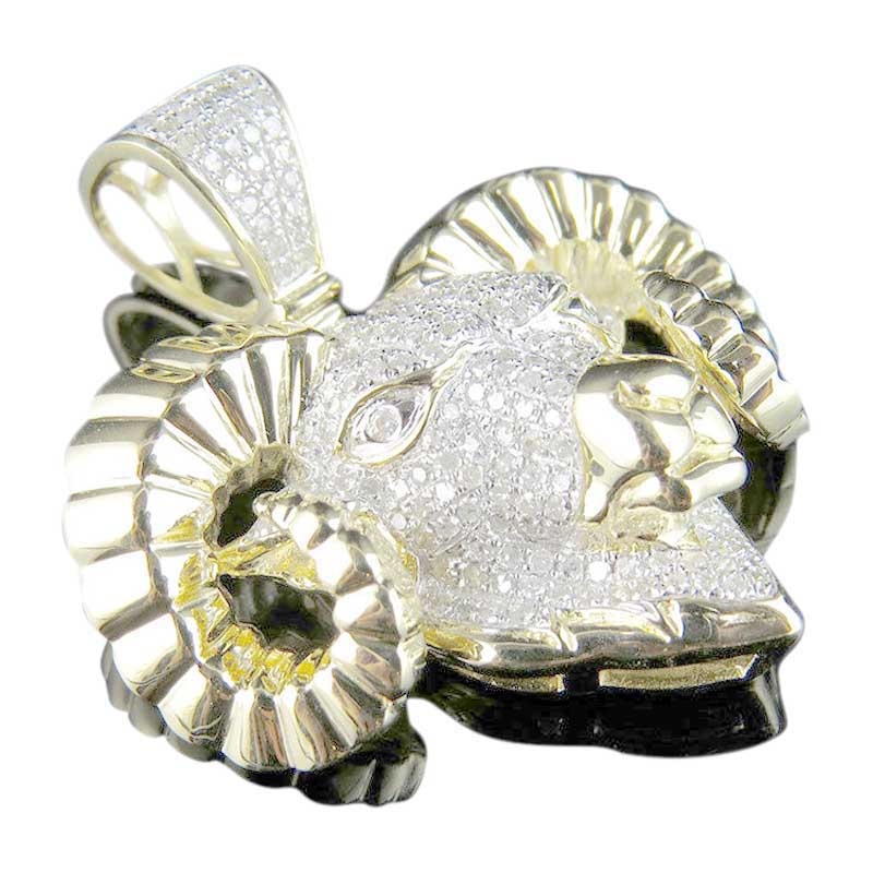 "Image of ""10K Yellow Gold Aries Ram Zodiac Animal Diamond Pendant Charm"""