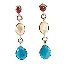 Ippolita Sterling Silver Turquoise Pearl Garnet Grotto Stone Earrings
