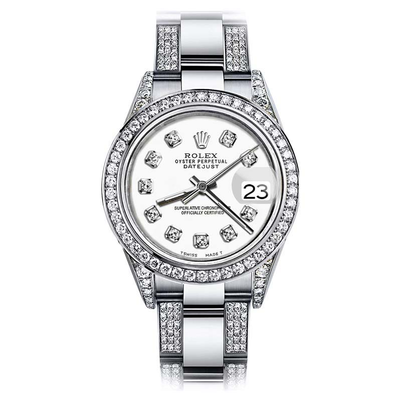 """Image of """"Rolex Stainless Steel Oyster Perpetual Datejust Diamonds Dial Watch"""""""