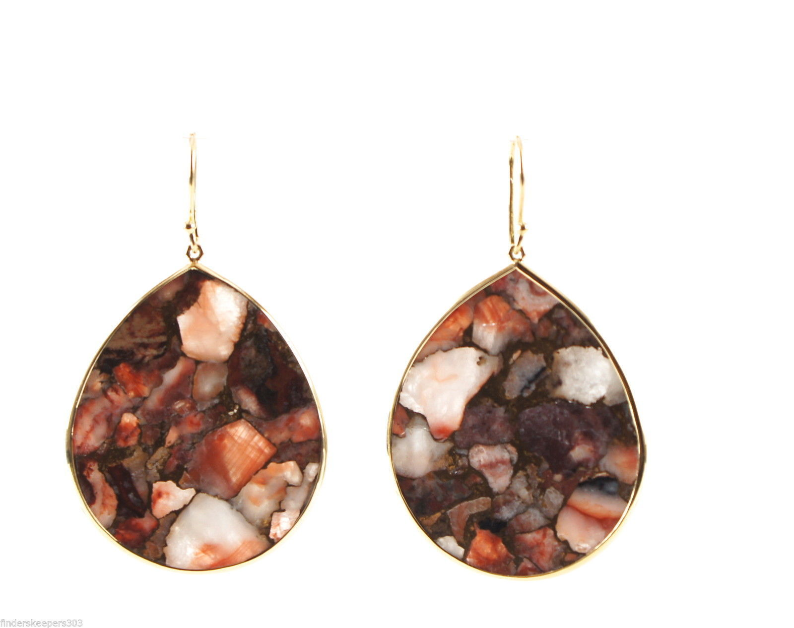 "Image of ""Ippolita 18K Yellow Gold Red Calcite Bronze Matrix Large Teardrop"""