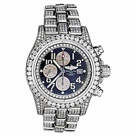 Breitling Super Avenger A13370 Blue Index Dial Stainless Steel Mens Watch
