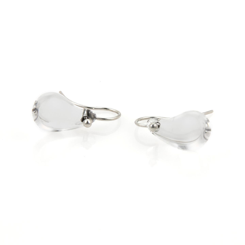 "Image of ""Tiffany & Co. Peretti Clear Quartz Platinum Tear Drop Hook Dangle"""