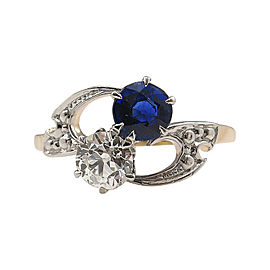 14K Yellow Gold 0.40ct Diamond & 0.40ct Sapphire Crossover Engagement Ring