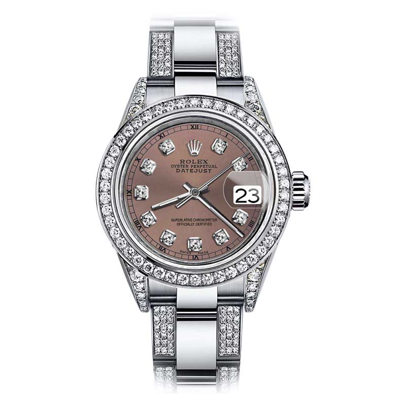 """Image of """"Rolex Oyster Perpetual Datejust Stainless Steel With Diamonds Salmon"""""""