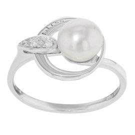Damiani Bliss 18K White Gold White Pearl & 0.03 ct Diamonds Cocktail Ring