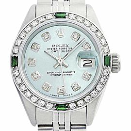Rolex Datejust 69174 Ice Blue Oyster Perpetual Steel 18K White Gold Diamonds Watch