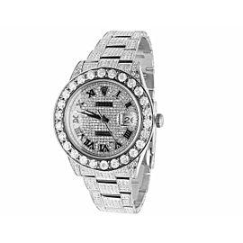 Rolex Datejust II 116300 Full Iced Roman Dial 22.5ct Diamond Mens 41mm Watch