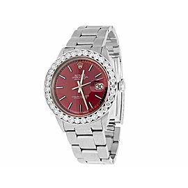 Rolex Datejust Quickset 16014 Red Dial 5.5ct Diamond Mens 36mm Watch