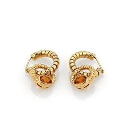 Bvlgari Bulgari Tubogas 18K Yellow Gold 2.00 Ct Citrine Double Hoop Dangle Earrings