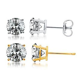 14K White Gold 1.5ct. Diamond Solitaire Studs Earrings