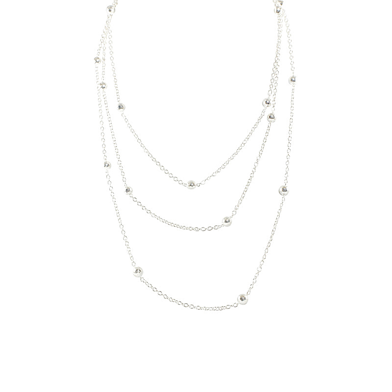 "Image of ""Ippolita .925 Sterling Silver Mini Hammered Long Ball Chain Necklace"""