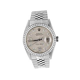 Rolex Datejust Quickset 16014 Jubilee Floral Dial 2.5ct Diamond Mens 36mm Watch