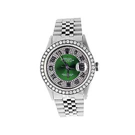 Rolex Datejust Stainless Steel Jubilee Green Dial 3.25ct Diamond Mens 36mm Watch