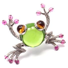 Bvlgari Bulgari 18k White Gold 29.15 Ct Peridot Diamond Pink Sapphire Citrine Frog Pin Brooch