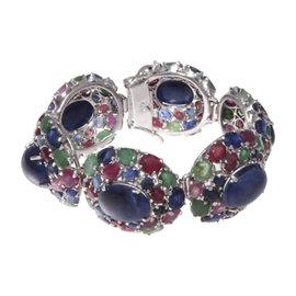 Platinum Silver Top Sapphire Ruby & Emeralds Bracelet