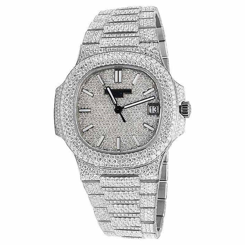 "Image of ""Patek Phillipe Nautilus 5711/1A Steel Pave Set 26.5ct Diamond Mens"""