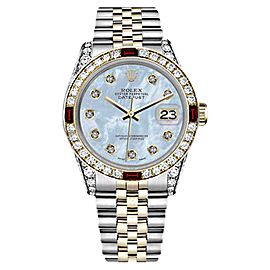 Rolex Datejust 2Tone Baby Blue Mother Of Pearl Dial with Ruby & Diamond Bezel Womens 26mm Watch
