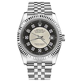 Rolex Datejust Silver+Black Tuxedo Dial with Diamond Accent RT Unisex 36mm Watch
