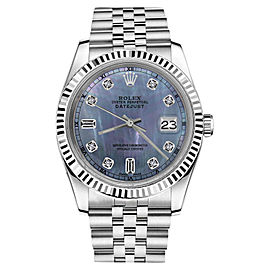 Rolex Datejust Tahitian Mother of Pearl 8+2 Diamond Dial RT Unisex 36mm Watch