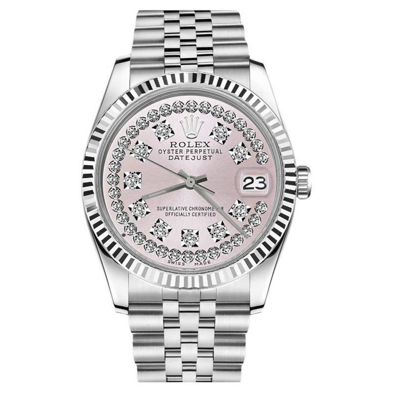 "Image of ""Rolex Datejust Stainless Steel With Pink String Diamond Dial 36mm"""