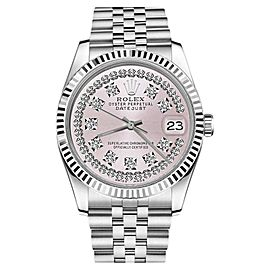 Rolex Datejust Stainless Steel With Pink String Diamond Dial 36mm Unisex Watch