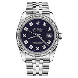 Rolex Datejust Stainless Steel With Purple Color Dial Diamond Accent 26mm Womens Watch