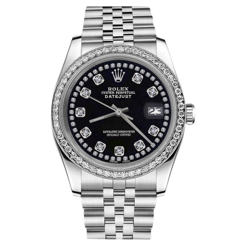 """Image of """"Rolex Datejust Stainless Steel With Black Color String Diamond Accent"""""""