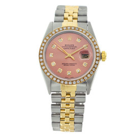 Rolex Datejust 16013 Diamonds Bezel Salmon Dial Original Jubilee Bracelet Mens 36mm Watch