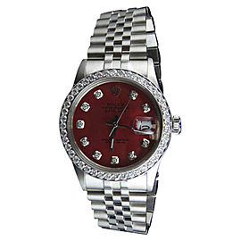 Rolex Datejust Quickset 16014 Jubilee Red Dial 3.0ct Diamond Mens 37mm Watch