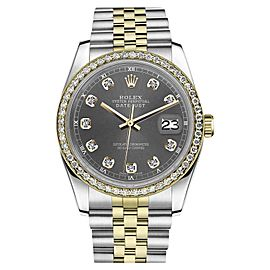 Rolex Datejust Stainless Steel/ 18K Gold With Two Tone Dark Grey Color Dial 36mm Unisex Watch